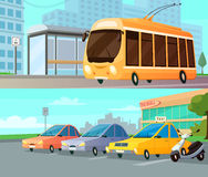 City Transport Cartoon Compositions. With trolley at street stop and mall parking with taxi cars and motorbike flat vector illustration Stock Photo
