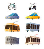 City Transport Flat Cartoon Icons Stock Photo