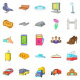 City transport icons set, cartoon style. City transport icons set. Cartoon set of 25 city transport vector icons for web isolated on white background Royalty Free Stock Photography