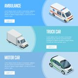 City transport isometric horizontal flyers. With ambulance car, compact city car and freight truck. Modern urban traffic, city logistics and infrastructure Stock Photos