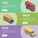 City transport isometric horizontal flyers. With public bus, post car and freight truck. Modern urban and countryside traffic, city logistics and infrastructure Stock Photo