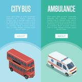 City transport logistics isometric vertical flyers. City transport isometric vertical flyers with red double decker bus and ambulance car. Modern urban and Stock Photo
