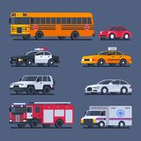 City transport and official transport set cars. Vector Illustration Royalty Free Stock Photo
