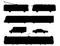 City transport public industry black silhouette vector flat illustrations traffic vehicle street cityscape travel way. Royalty Free Stock Photo