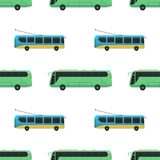 City transport public industry bus seamless pattern vector flat illustrations traffic vehicle street tourism travel way. Royalty Free Stock Images