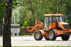 City transport service is engaged in greening city streets for ecology stock image