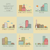 City transport service icons Royalty Free Stock Photo