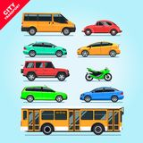 City transport set flat isolated cars, motorcycle, van, bus, taxi on blue background illustration. Multicolored stylish cars mockups, red, blue, green, yellow Stock Photos