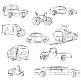 City Transport Sketch Set. Illustration of City Transport Sketch Set Stock Photo