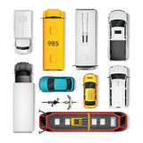 City Transport Top View Set Royalty Free Stock Photography