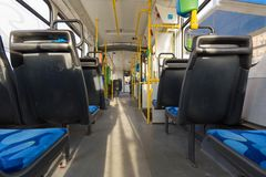 City transport / tram. City transport / view of the tramway inside Stock Photography