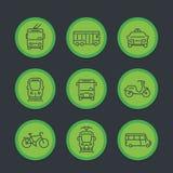 City transport, transit van, cab, bus, icons set Royalty Free Stock Image