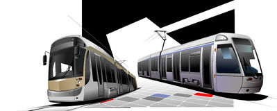 City transport. Two Trams Royalty Free Stock Photo