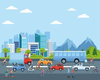 Free City Transportation And Mobility Cartoons Stock Photo - 154645910