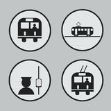 City transportation: bus, tram, trolleybus and conductor icons and . Stock Photos