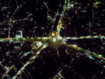 City Transportation on Night. Aerial View Royalty Free Stock Photo