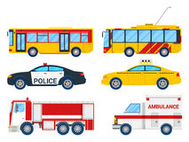 City Transportation Set with Bus, Trolley and Taxi. Vector illustration Stock Images