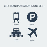 City transportation silhouette vector icons set. Royalty Free Stock Images