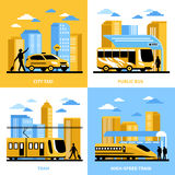 City Transportation 2x2 Design Concept Royalty Free Stock Images