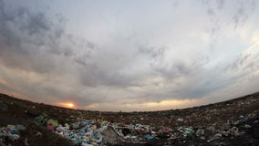 City trashcan evening at sunset. City trashcan evening at  sunset stock video footage