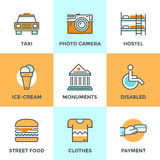 City travel elements line icons set Royalty Free Stock Image