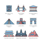 City travel landmarks of Europe, Asia and America vector illustration