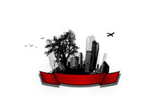 City with tree. Vector Royalty Free Stock Photos
