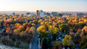 City of trees Boise Idaho skyline in full fall color. Early morning light in fall on the city of Boise Idaho Royalty Free Stock Photo