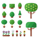 City trees, bushes and flowers vector set. Icons set. Modern flat design. City trees, bushes and flowers vector set. Icons set.  objects. Modern flat design Royalty Free Stock Photos