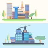 City, trees, houses, buildings, architecture, city Royalty Free Stock Images