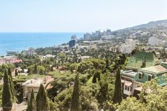 A city among trees. City views of Yalta from the height of the cable car Royalty Free Stock Photo