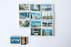 Photo of souvenir matches with views of St. Petersburg, Peterhof. stock photos