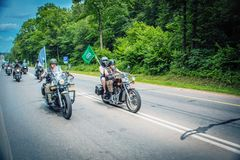 The travel of the biker team on motorcycles royalty free stock photo