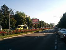 City of tulips in Romania. Central boulevard in Pitești royalty free stock images