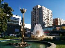 City of tulips in Romania. The grand tulip in the center of Pitești stock photo