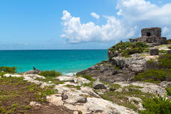 City of Tulum. Perfect beach at lost city of Tulum - Mexico Stock Photo