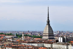 City of Turin. Skyline panorama seen from the hill royalty free stock photo