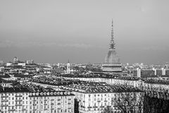 City of Turin Torino skyline panorama seen from the hill - high dynamic range HDR - black and white Royalty Free Stock Photography
