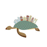 City on turtle. Building on animal reptiles. Fantastic city. Vec Stock Photography