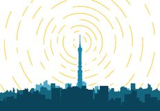 City TV tower. Radio transmitter. Tower with tv signal transmitter. City with buildings and skyscrapers on background. Flat style line vector illustration vector illustration
