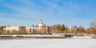 City of Tver. Winter embankment of the Volga River in the city of Tver royalty free stock photography