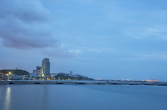 City at twilight in Chonburi, Thailand Stock Photography