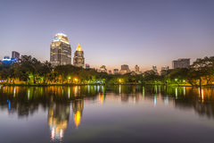 City at twilight view of Bangkok from Lumpini Park, Thailand. Royalty Free Stock Images