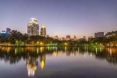 City at twilight view of Bangkok from Lumpini Park, Thailand. Royalty Free Stock Photo