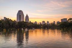 City at twilight view of Bangkok from Lumpini Park, Thailand. Royalty Free Stock Image
