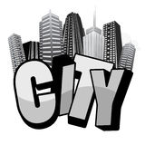 City typography artwork. Main element is the 3D text word CITY and the metropolis in the background. Suitable for cloth prints stock illustration