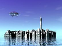 City and UFO Stock Photos
