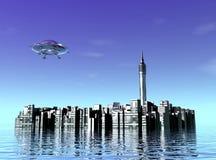 City and UFO Stock Photos