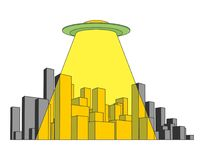 City and UFO. Abstract Skyline  and Space Invader.  Stock Photography