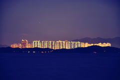 City. Under the blue sky of Hong Kong city lights Royalty Free Stock Photography